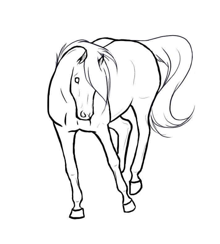 bucking horse lineart by xredlily