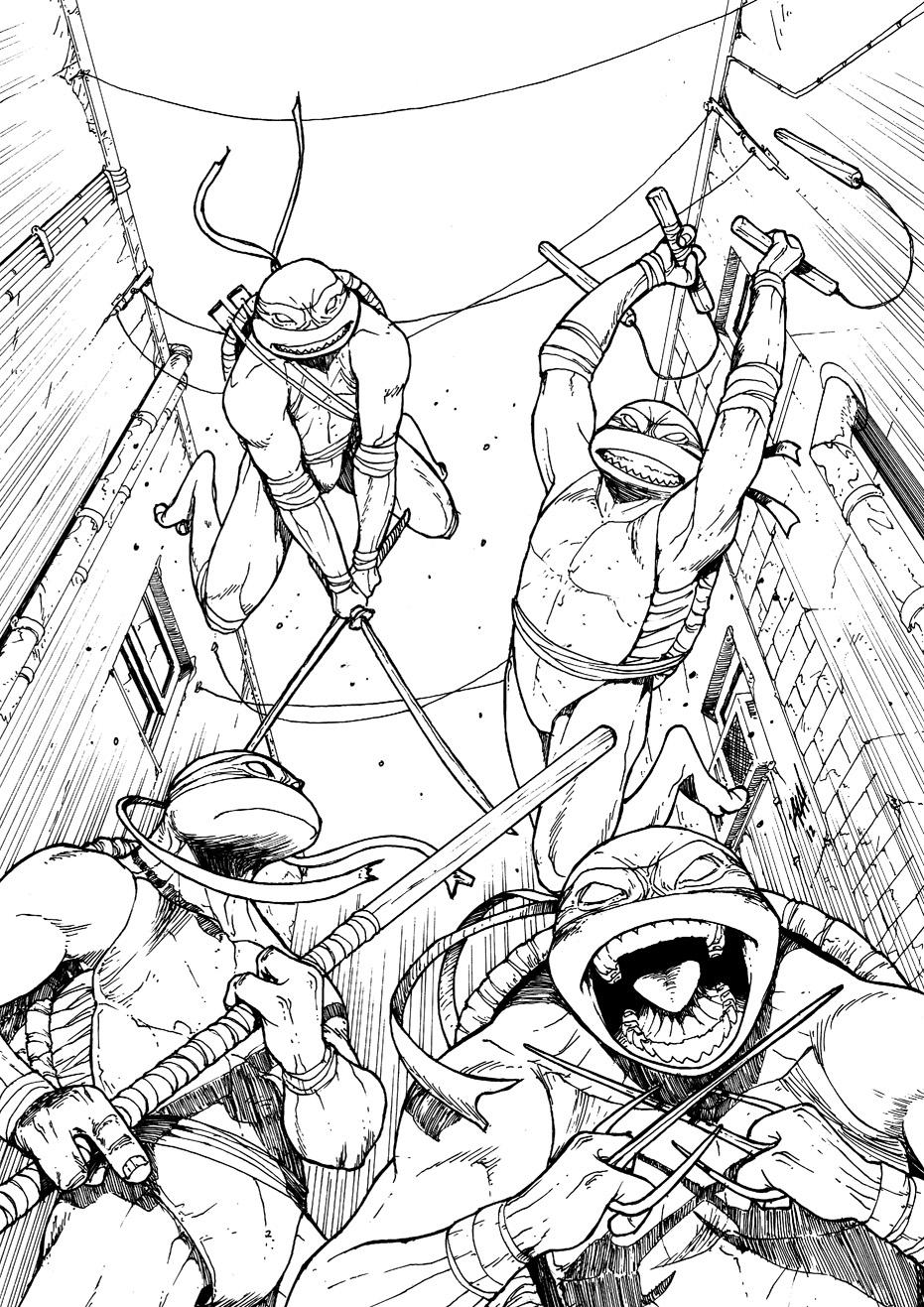 tmnt 2012 coloring pages - teenage mutant ninja turtles fake cover inks by erdna1