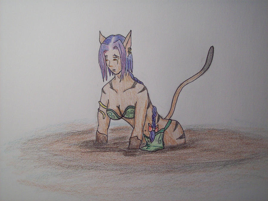Catgirl in Quicksand by 1st-Dorokage