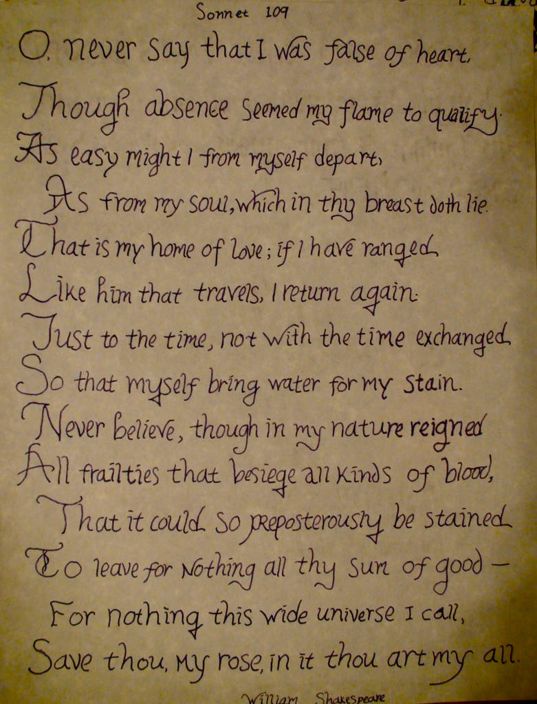Sonnet 109-William Shakespear by xcmer