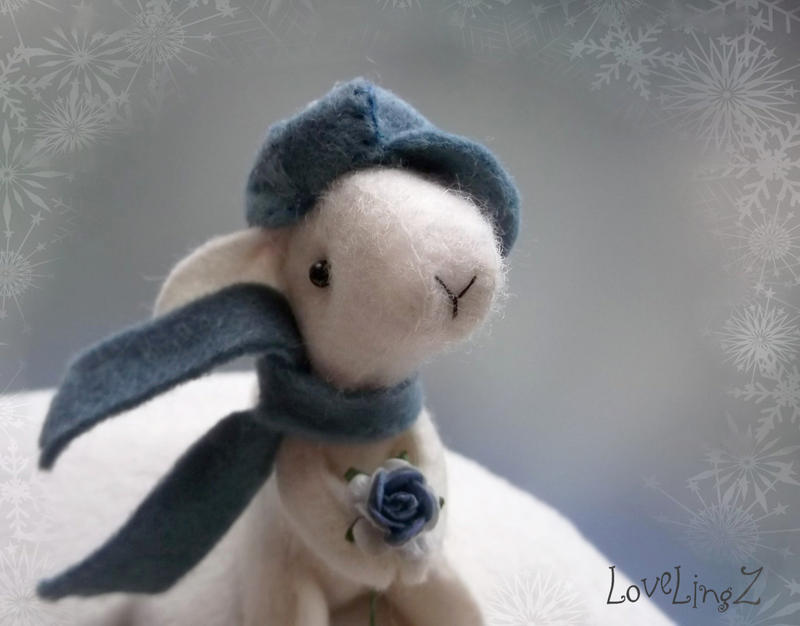 Mini bunny with hat, soft pose-able winter rabbit by LoveLingz