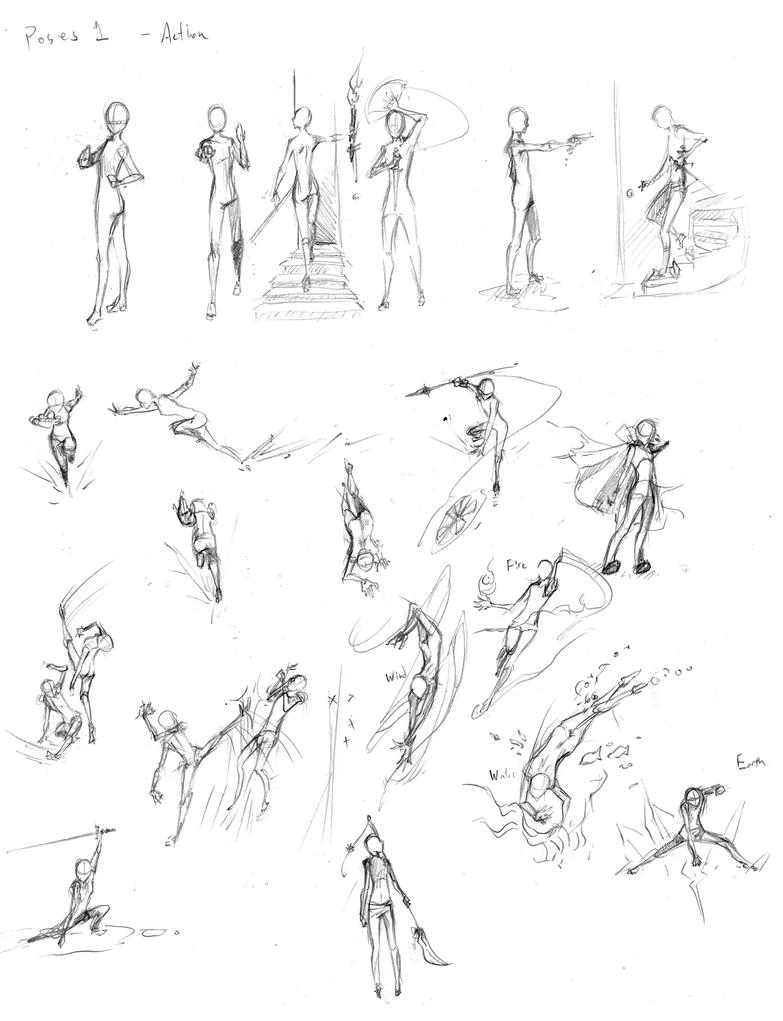 Martial arts action poses