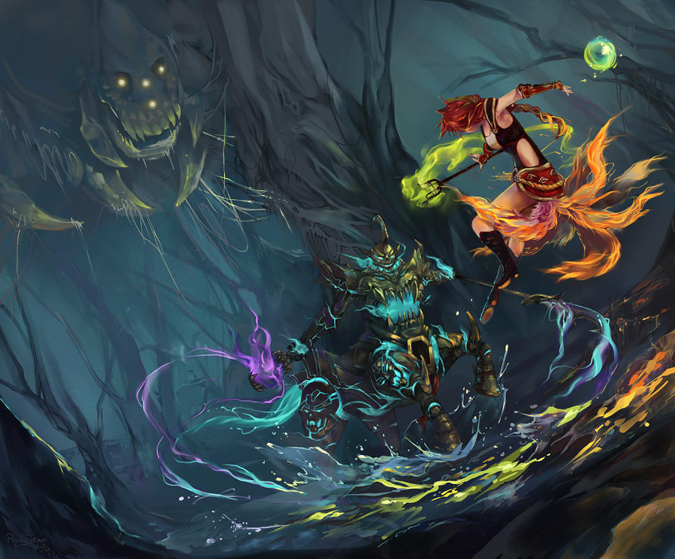LoL - Digi Art Contest - King of the Treeline by Nyanfood