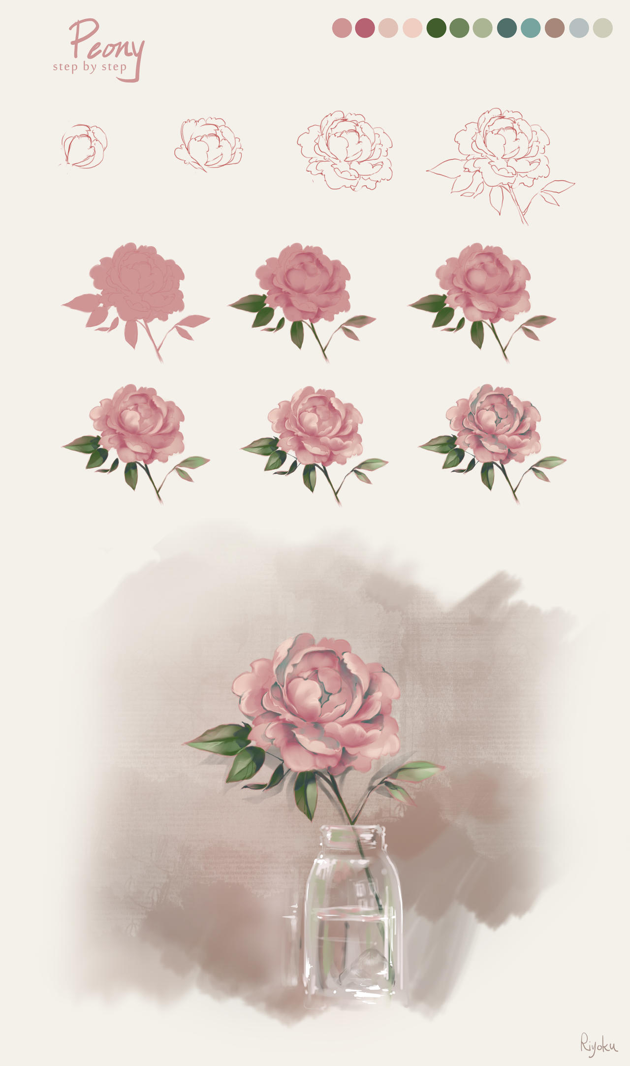 Flower Tutorial - Peony by Nyanfood
