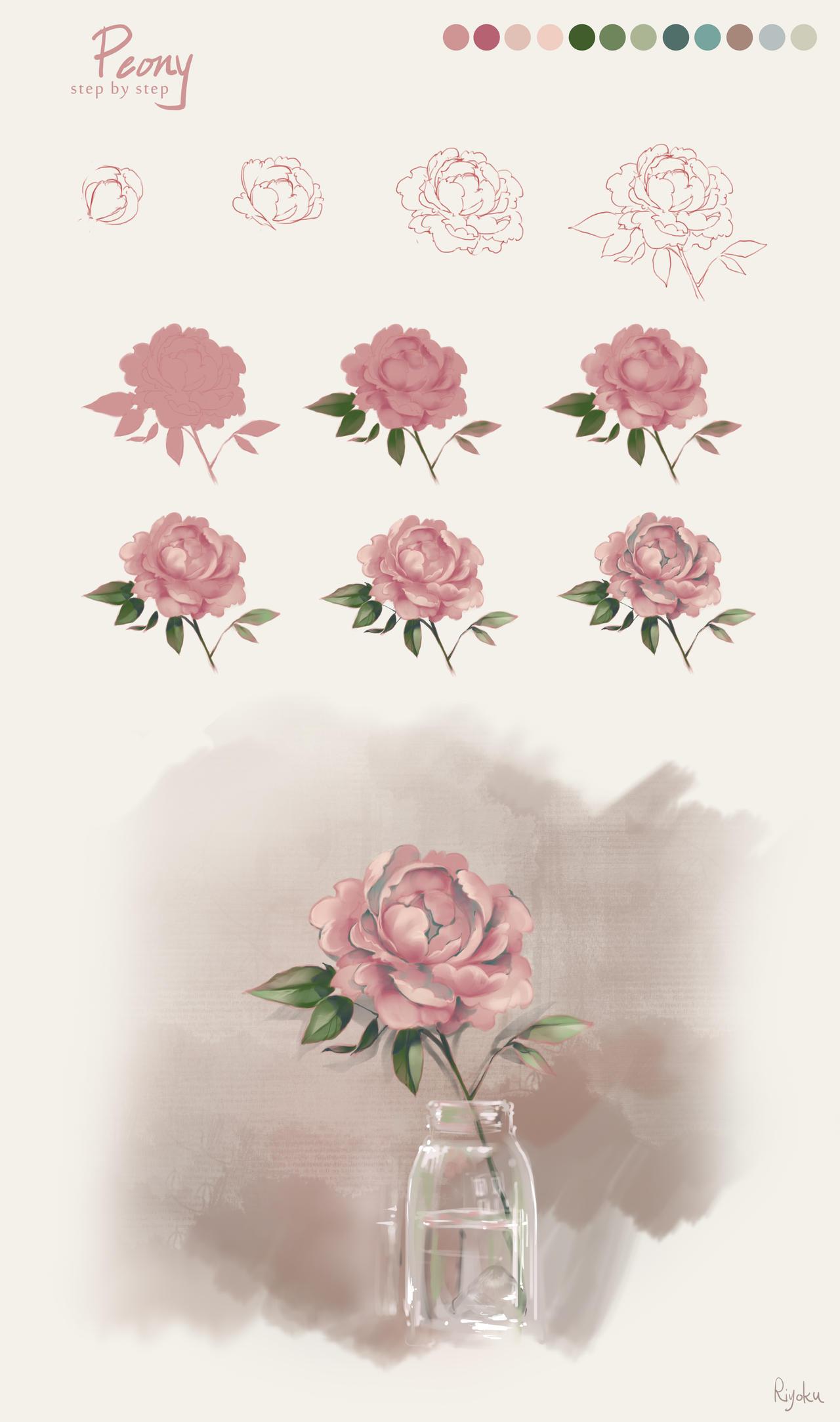 Flower Tutorial - Peony by Nyanfood
