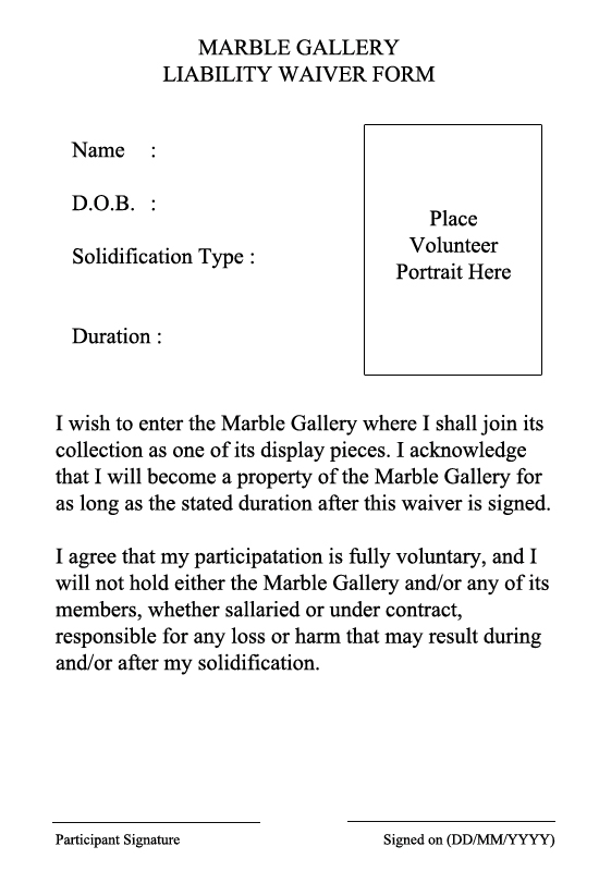 Marble Gallery Liability Waiver Form By LExander On Deviantart
