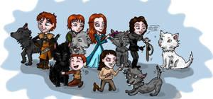 ASOIAF: Stark Children (+Jon) and their direwolves