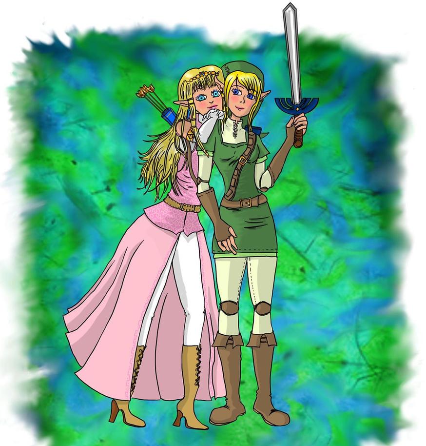 Zelda and femLink by Campanita42