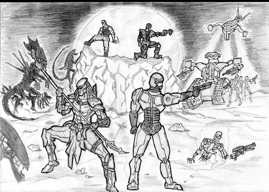 predator,robocop,alien,Termina by Harunsilver