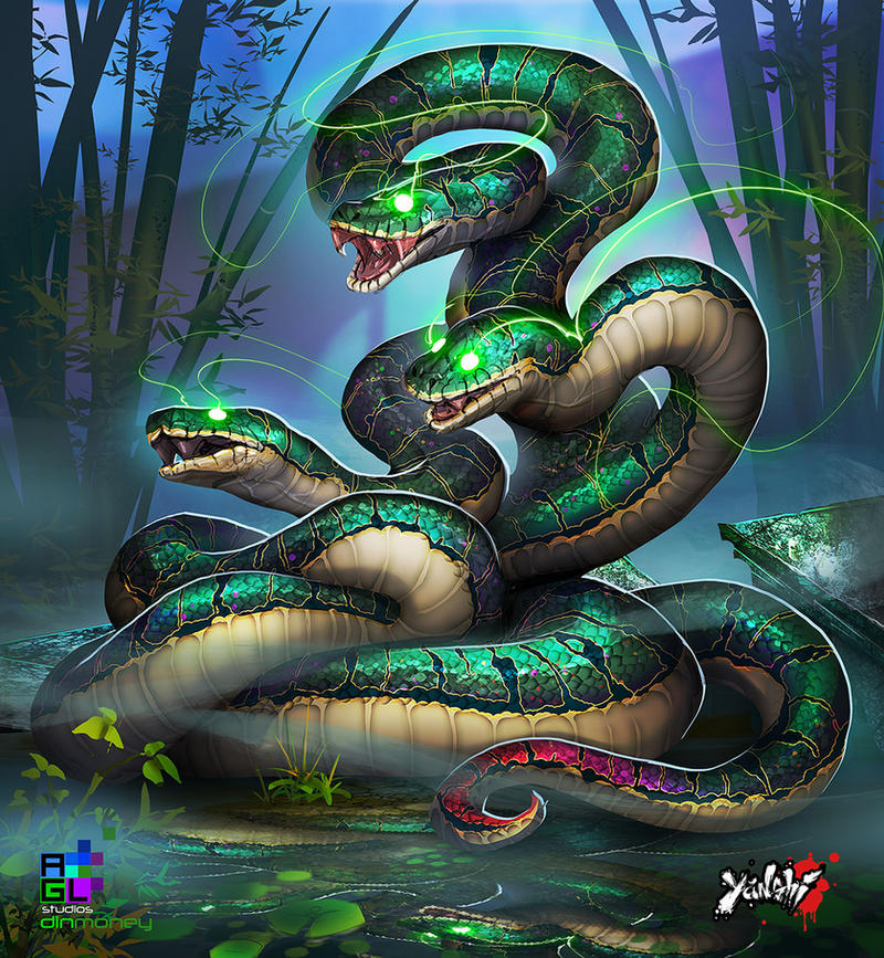 Yanshi: Three Headed Serpent by dinmoney on DeviantArtThree Headed Animal Drawing