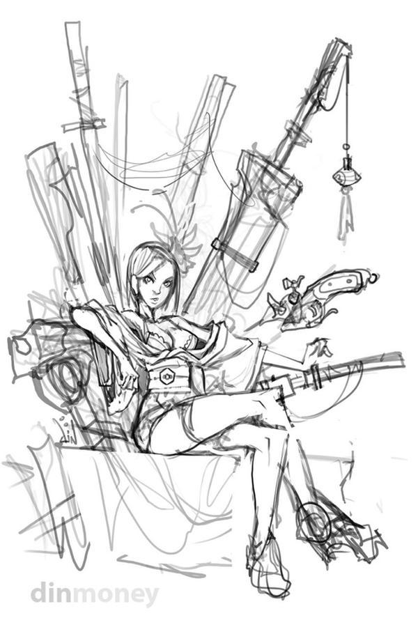 SwordsWoman sketch by dinmoney
