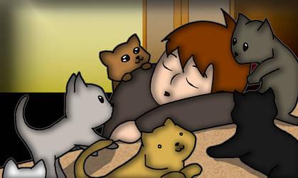 SomJoe with cats