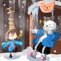 Sans and Frisk on a snowy day