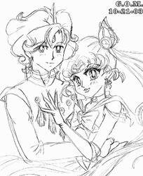 Helios and Older Chibi-Usa by guardian-of-moon