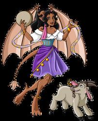 Gargoyle Esmeralda + Djali by guardian-of-moon