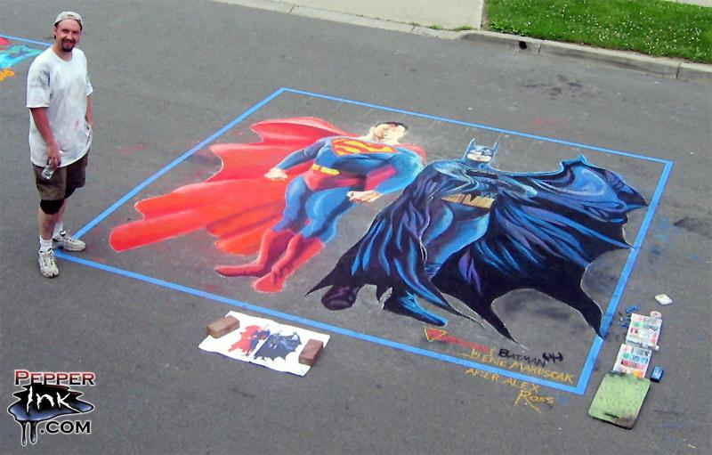 superman batman street chalk art by pepperinkart on deviantart