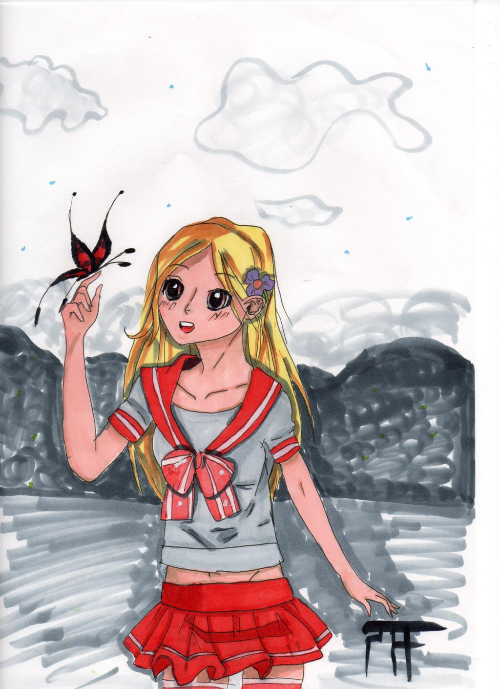 Fillette Au Papillon Dessin Manga By Jijo2448 On Deviantart