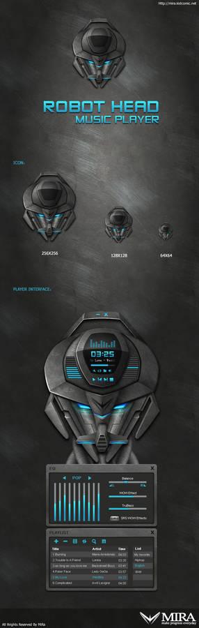 Robot head music player