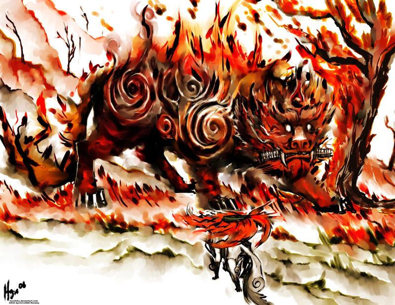 Amaterasu vs Fire Beast by hyrohiku