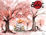 Under sakura trees