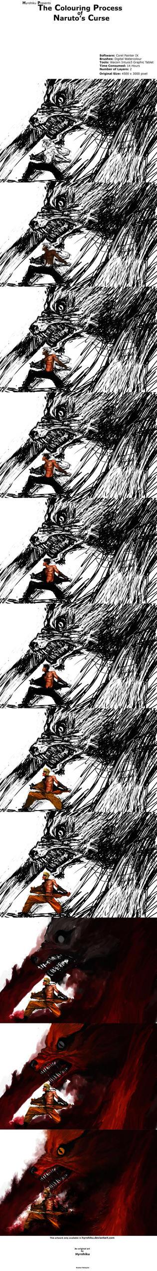 Naruto's Curse Colouring by hyrohiku