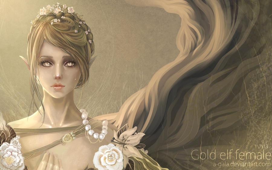Gold Elf Female By A Gala On Deviantart