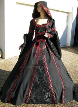 Black-red medieval dress