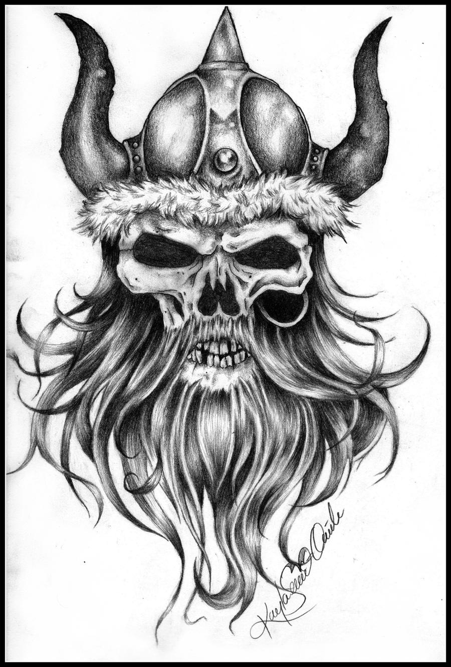 Viking skull 3 by kaylasevier traditional art drawings fantasy 2012