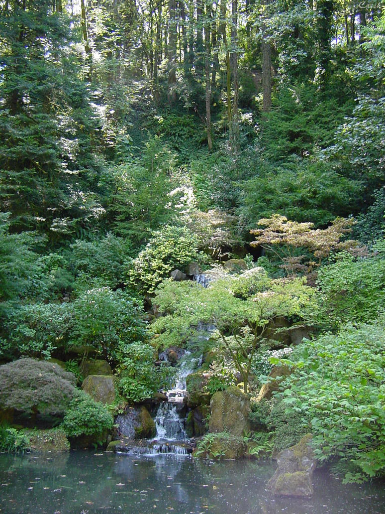 Japanese Waterfall Trees Stock by Enchantedgal-Stock