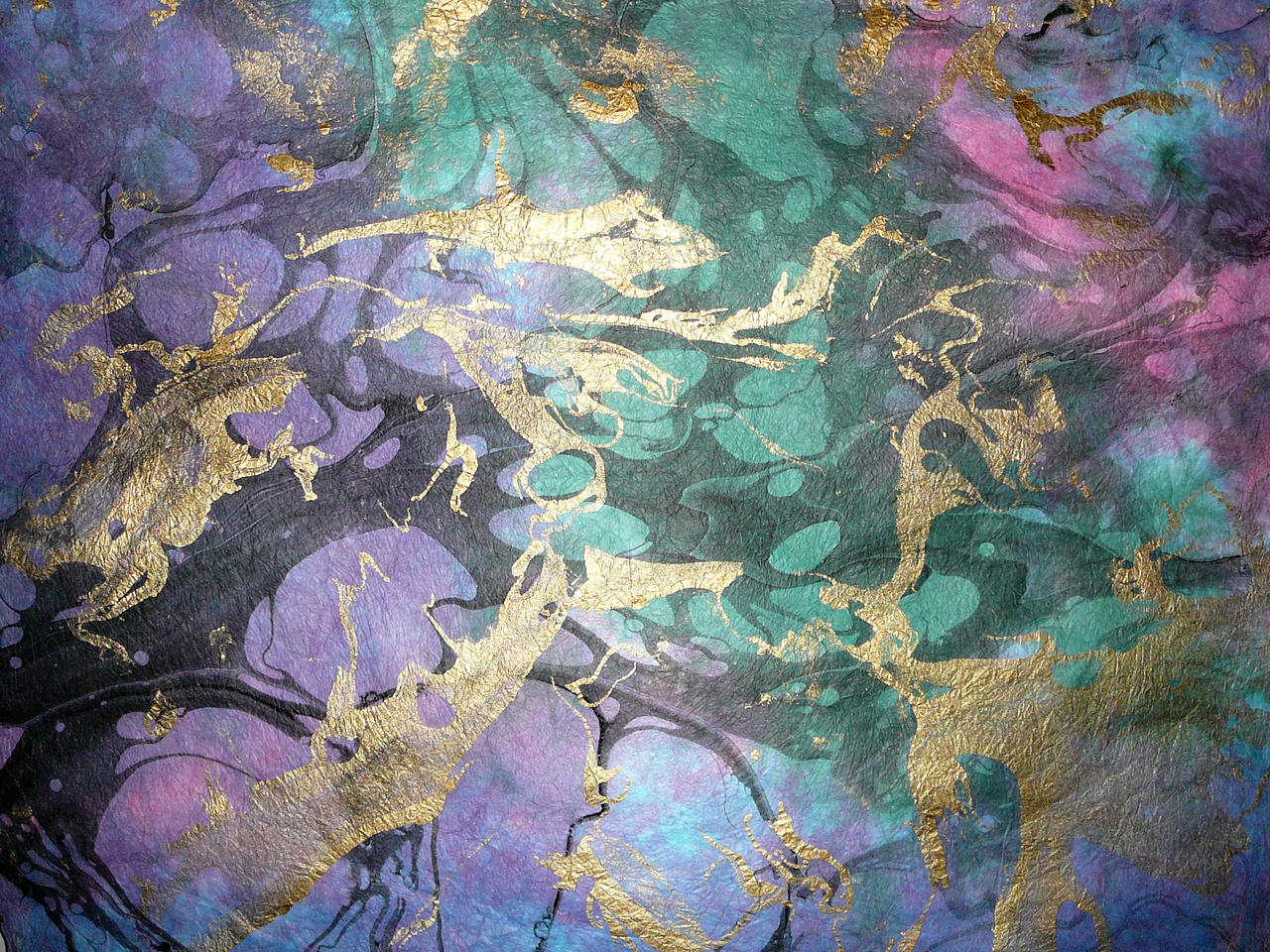 Blue Gold Purple Marbled Paper