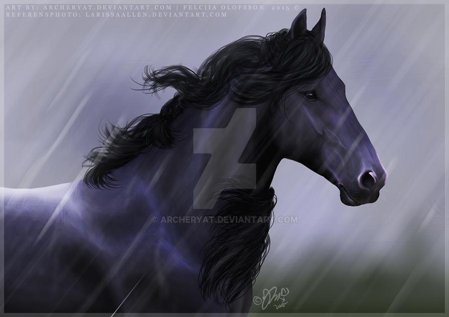 Friesian Horse Paintings Friesian Horse by Archeryat