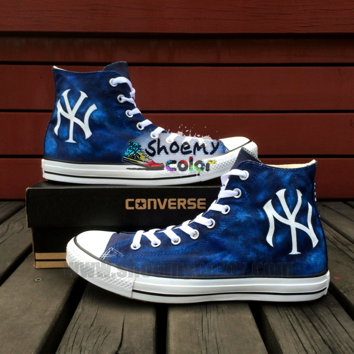 f1bdbc7020939 New York Yankee Hand Painted Converse Canvas Shoes by elleflynn on ...