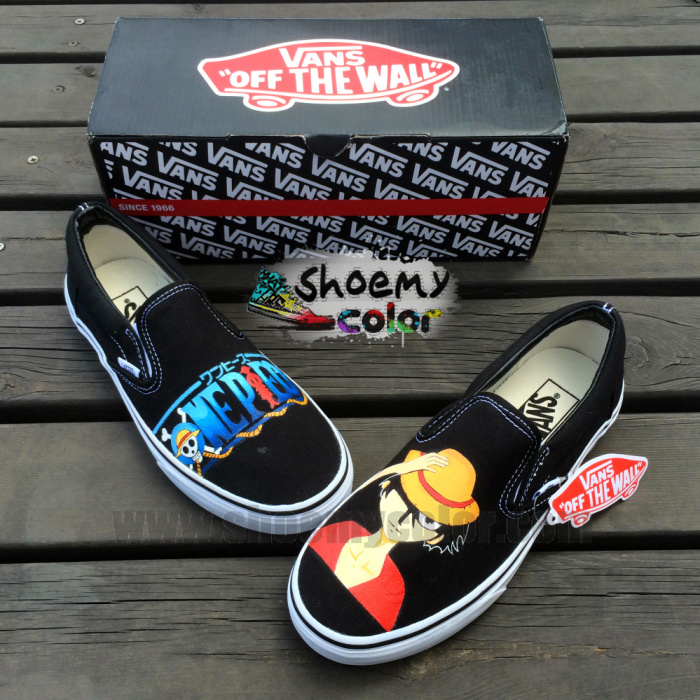 Black Vans Luffy Skull Slip On Hand Painted Shoes By Elleflynn