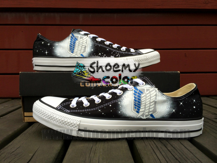 Attack on Titan Black HandPainted Low-top Converse by elleflynn
