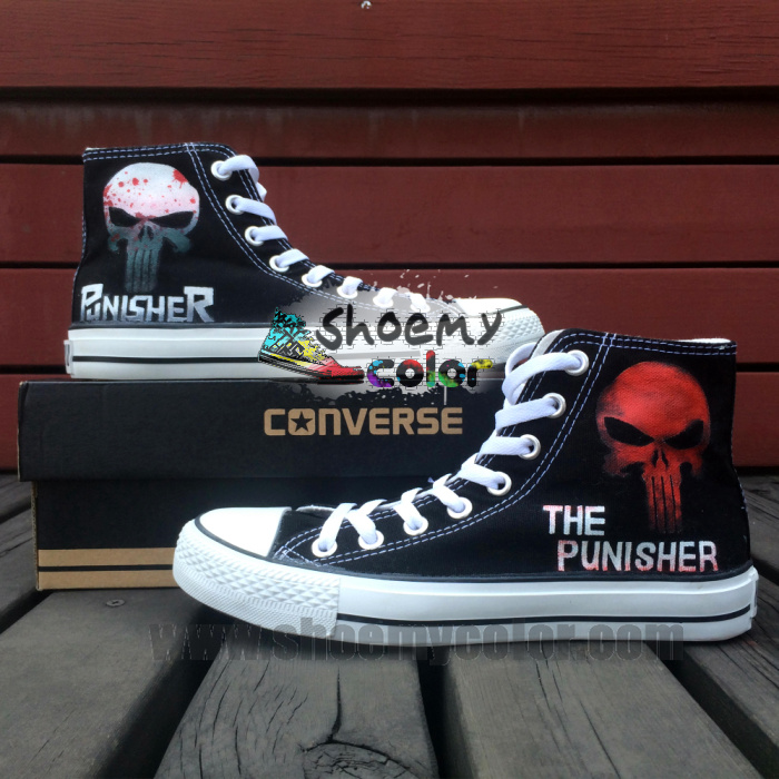 The Punisher All Star Converse High Top Shoes by elleflynn