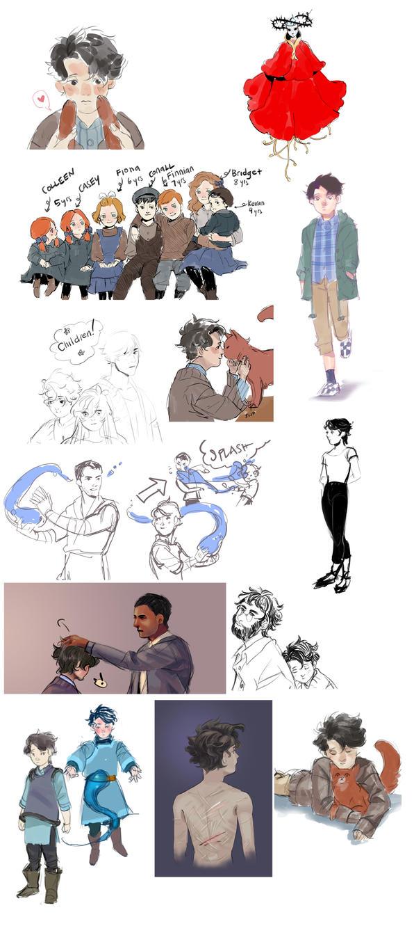 Godsglaow Sketch Dump 1 by Lilybyte