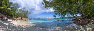 Tropical beach panorama Seychelles, Praslin