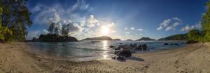 Seychelles, Mahe, beach at sunset