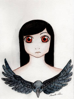 Raven hair, dark crow and red eyes