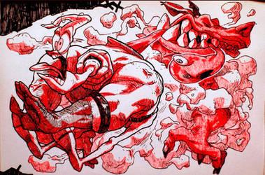 Inktober: Day17 Earthworm Jim 2 by Yaguete