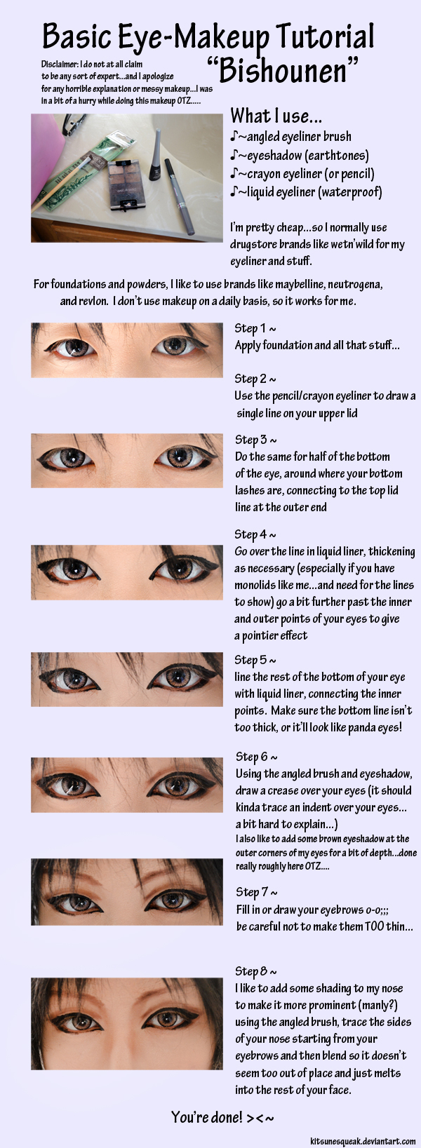 Eye-makeup Tutorial - Pretty Boy by kitsunesqueak