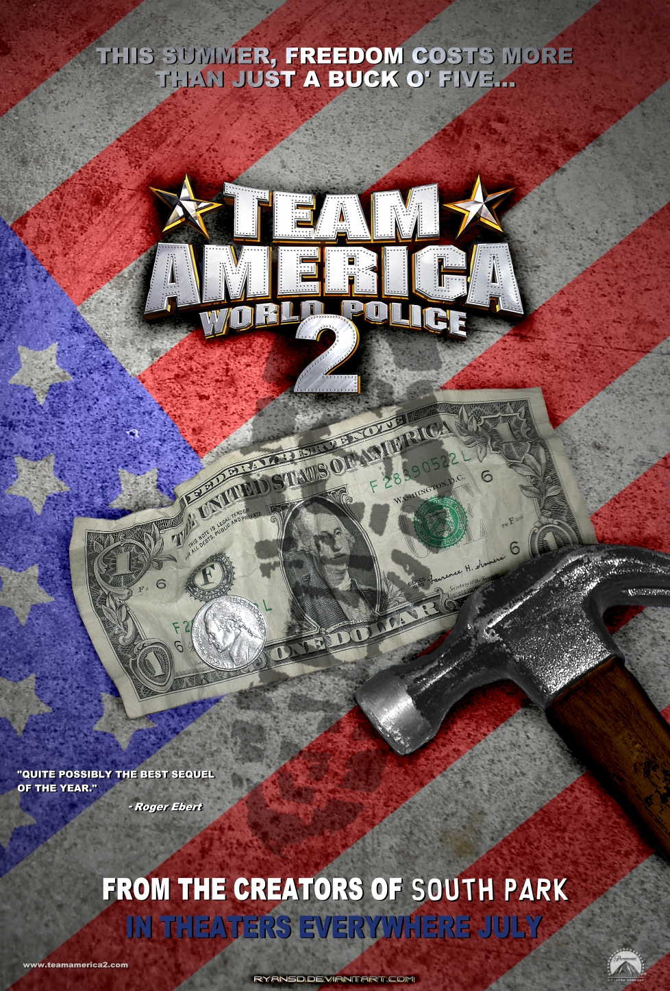 team america Team america: world police the film is based on a famous 1960s children's seriesits about a patriotic team they always team up together to protect the president, prevent terriosts from destroying the world.
