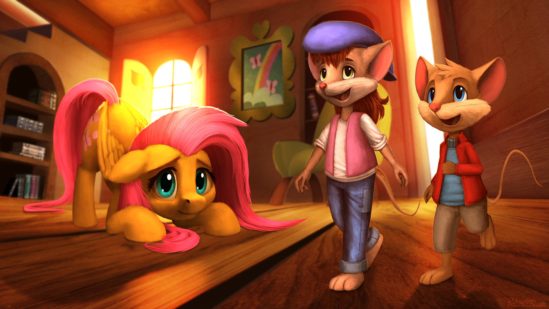 Bridgid and Eckhart in Fluttershy's Cottage