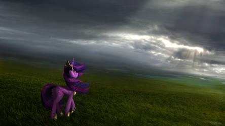 An Old Princess Walks the Fields