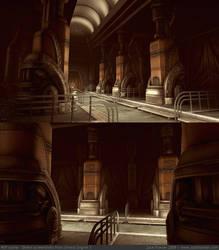Art Deco Tech Hallway WIP by ZackF