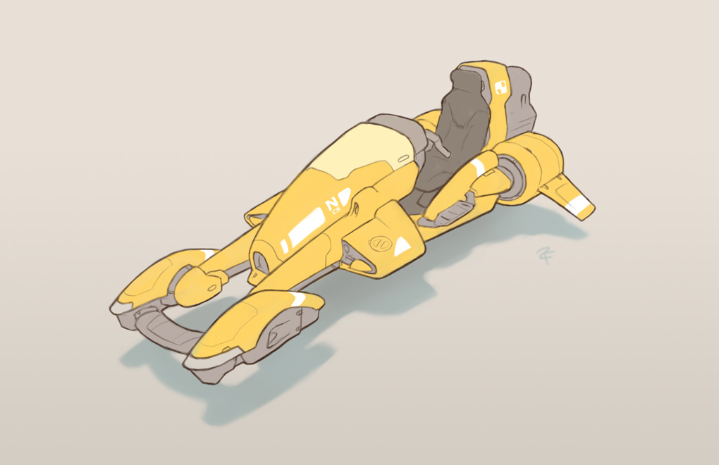 yellow hoverbike by ZackF
