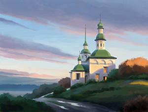 Church. Sunset