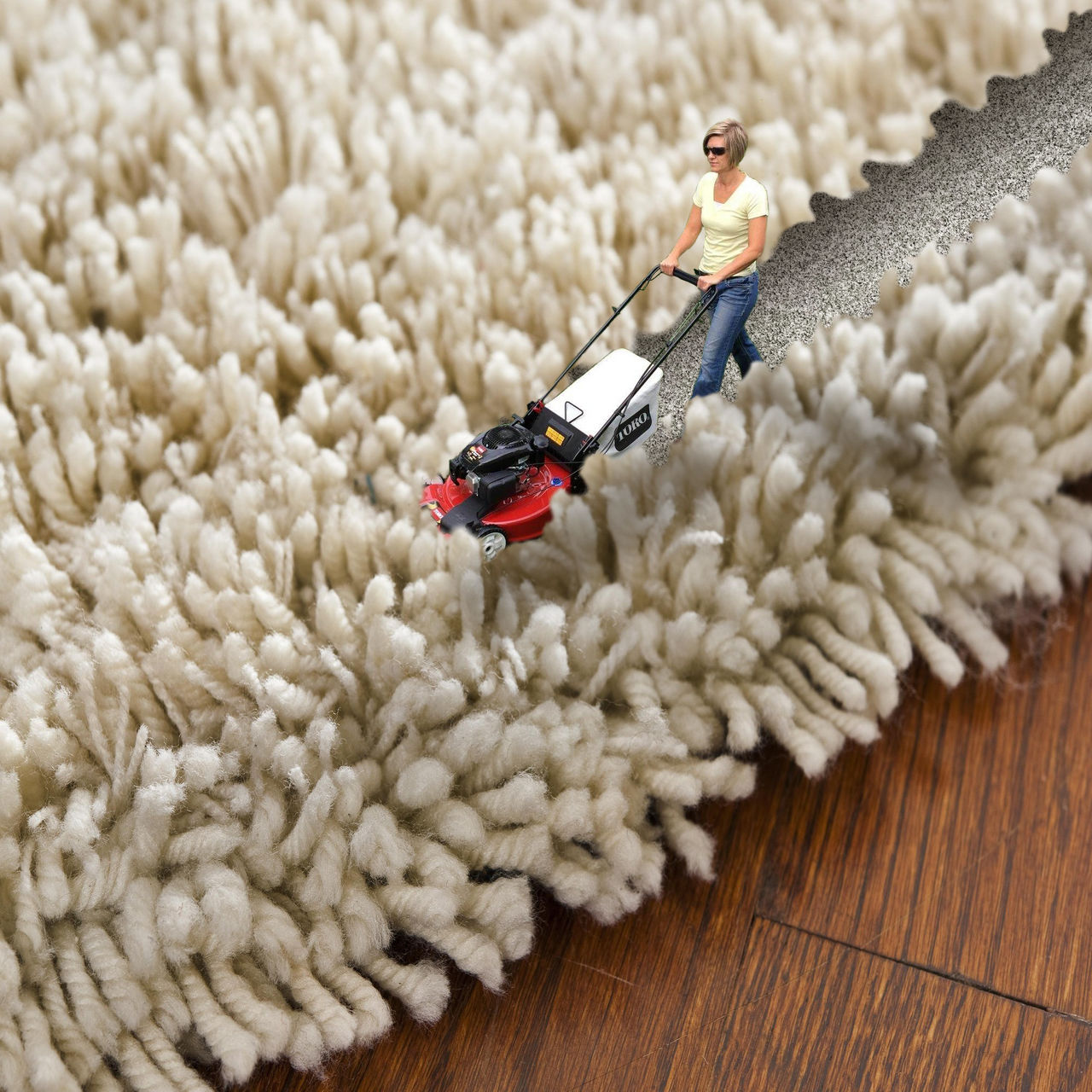 mad tiny cuts carpet with lawnmower