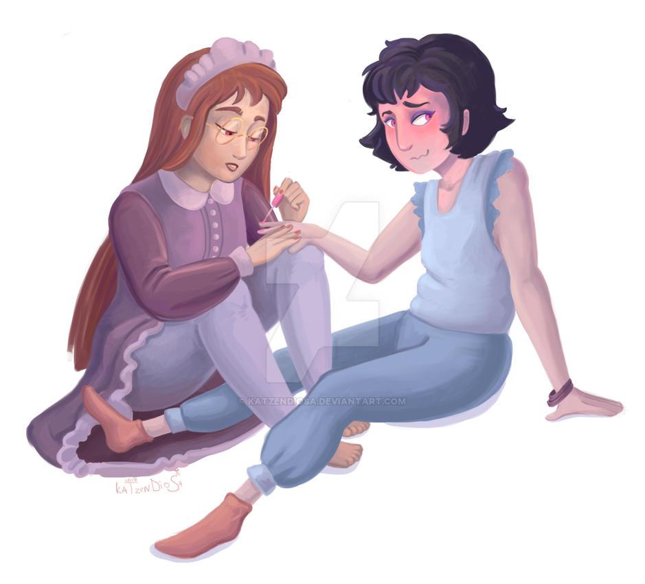 Merita and Lady Crowlie by katzendiosa