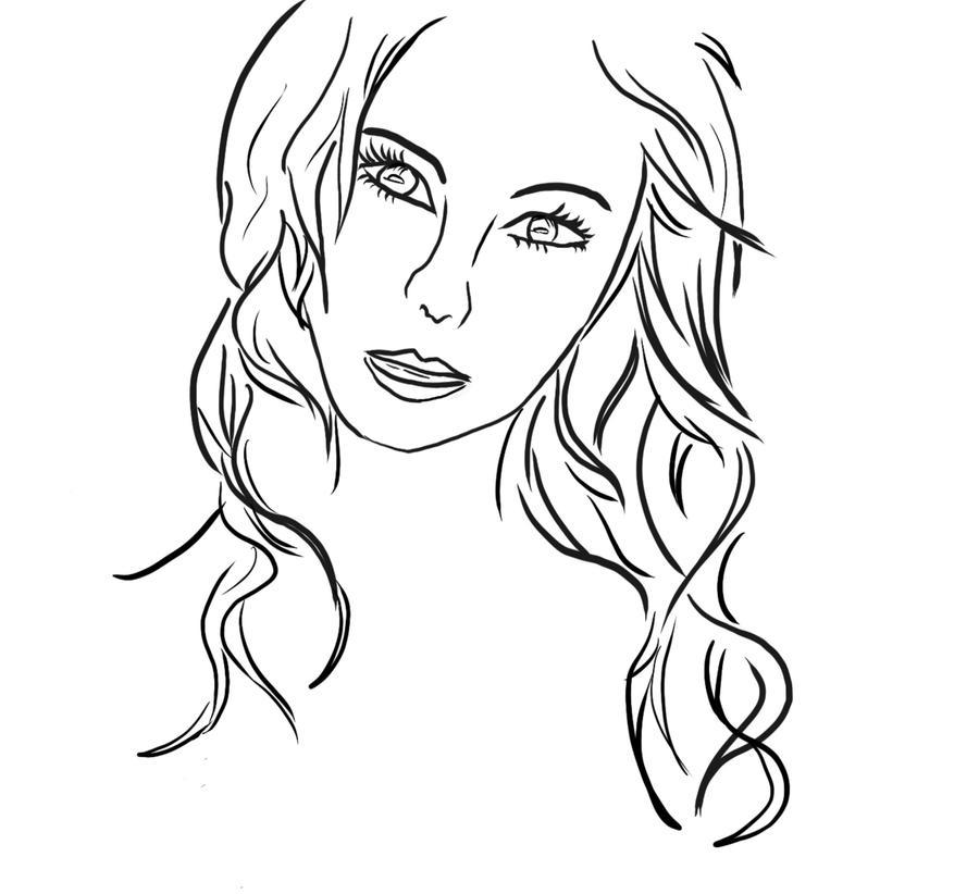 Line Drawing Of Girl : Line art girl by yumenokokoro on deviantart